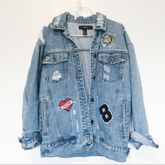70e5263ab Forever 21 distressed patch denim jean jacket